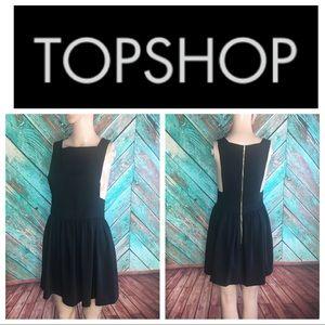 Topshop Pinafore Black Zipper Dress